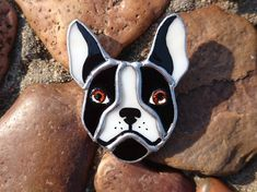 Stained Glass Brooch  French bulldog Glass от TheStainedGlassCo