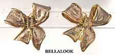 VINTAGE SIGNED 925 MEXICO TAXCO SOLID STERLING SILVER LARGE 3D BOW EARINGS 13.8g