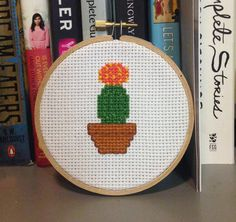Moon Cactus Cross Stitch