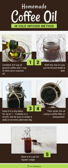 DIY Homemade Coffee Oil Cold Infused Method This method is a time-consuming p. DIY Homemade Coffee Oil Cold Infused Method This method is a time-consuming process and all you need is ground coffee and any carrier oil. Homemade Skin Care, Homemade Beauty Products, Diy Skin Care, Coffee Essential Oil, Essential Oil Blends, Essential Oils, Coffee Oil Recipe, Coffee Recipes, All You Need Is
