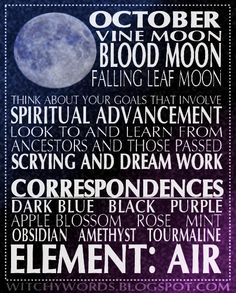 Witchy Words: October: Blood Moon esbat ritual correspondences and goals #wicca #pagan