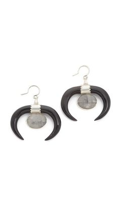 Chan Luu Black Horn Earrings