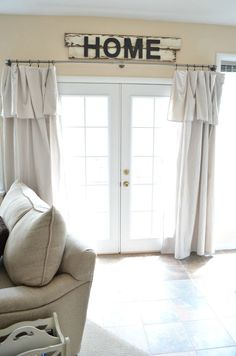 of things to do with a basic drop cloth beautiful drop cloth curtains - tons of other great drop cloth project ideas, too!beautiful drop cloth curtains - tons of other great drop cloth project ideas, too! Farmhouse Kitchen Curtains, Shabby Chic Kitchen, Farmhouse Decor, Farmhouse Design, Farmhouse Windows, Modern Farmhouse, Vintage Farmhouse, Curtains In Kitchen, Modern Rustic