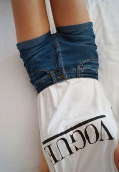 White vogue top and basic shorts