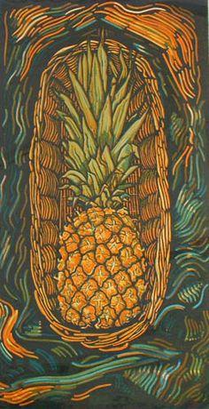 Pineapple in a basket by Myrtle Pizzey