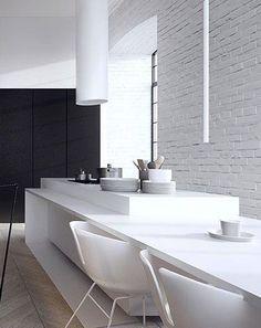 Tamizo Architects - loft interior design in łódź Minimal Kitchen Design, Minimalist Kitchen, Interior Design Kitchen, Modern Interior, Interior Architecture, Residential Architecture, Interior Decorating, Dining Table In Kitchen, Kitchen Decor