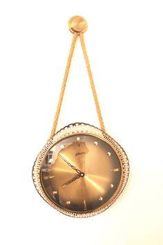 ATLANTA Pendant Clock, West German Wall Clock, Brass Starburst Sunburst Mid Century Clock by Vinteology on Etsy Wall Clock Brass, German Wall, Clocks, 1960s, Atlanta, Mid Century, Etsy Shop, Pendant, Vintage