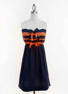 Cute Judith March Gameday dress - strapless navy with orange bodice. Great for Florida, Auburn, and even Tennessee Ladies.