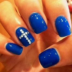 Dark Blue Nails with rhinestone crosses! I'd so do this but black nails pink sparkles. Cross Nail Designs, Cute Acrylic Nail Designs, Nail Designs Pictures, Fingernail Designs, Cute Acrylic Nails, Nail Art Designs, Blue Nails, My Nails, Cross Nails