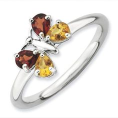 Stackable Expressions Citrine and Garnet Sterling Silver Polished Butterfly Ring, Women's, Size: 10