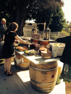 Real Wedding: Newland Barn in Huntington Beach. Flowers by ThePurpleIrisEvents.com Chips and veggies for guests to munch on before dinner.