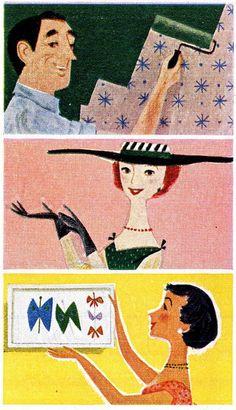 "Details from ""Dutch Boy"" Naplex paints ad.  Look magazine  Illustrator unknown  September 1957"