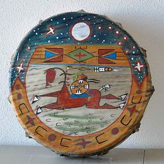 Native American Lakota Buffalo Hide Drum Painted by Sonja Holy Eagle