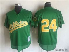 78a2b5a3a Oakland Athletics  24 Rickey Henderson 1998 Throwback Green Cooperstown Mesh  Batting Practice Jersey