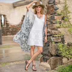 SAND DOLLARS DRESS - A light and airy knit dress, perfect for sunny days and seaside adventures. Wear as a cover-up or with the included slip liner out to dinner. Cotton.