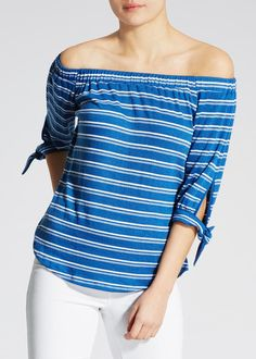 Arguably the season?s hottest silhouette this chic blue stripe Bardot top ensures a timeless feminine finish. Constructed in textured fabric style notes...