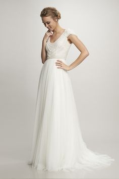 Theia Nima Cap sleeve v-neck pearl beaded scallop bodice with Spanish tulle skirt