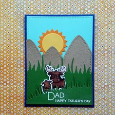 """A Father's Day card, using the """"Dad + Me"""" stamp set from """"Lawn Fawn""""."""