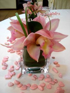 small cymbidium orchid arrangement for the cocktail tables