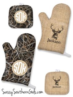 Personalized Oven mitt gift for Dad! Lots of patterns to choose from in our Men's Collection at www.SassySouthernGals.com ~ Monogrammed Gifts & Accessories