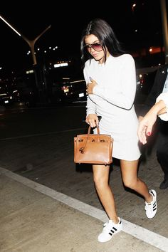 Le Fashion Blog 25 Ways To Wear Adidas Sneakers White Dress Sunglasses Super Star Black Stripe Kylie Jenner Via Who What Wear