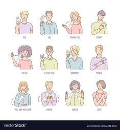 Deaf mute sign language character gesture vector image on VectorStock Sign Language Games, Sign Language Chart, Sign Language For Kids, Sign Language Phrases, Sign Language Alphabet, Learn Sign Language, American Sign Language, Sign Language Basics, Sms Language