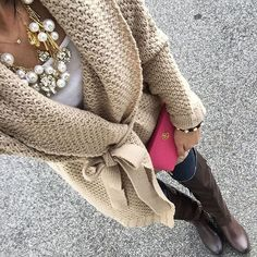 """""""Sorry for the repost! Wearing a simple belted sweater and my new favorite necklace! Heads up this sweater is only $22 and I'm wearing a size small. I also…"""""""