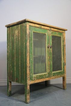 This antique pine food cupboard /safe is in the original historically correct green paint finish. Primitive Cabinets, Primitive Furniture, Country Furniture, Distressed Furniture, Country Decor, Antique Furniture, Country Kitchen Cabinets, Painting Wooden Furniture, Painted Furniture