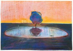 Pond, 1966 by Wayne Thiebaud on Curiator, the world's biggest collaborative art collection. Wayne Thiebaud Paintings, New York Galleries, Smoke Art, Digital Museum, Collaborative Art, New Artists, Figure Painting, Abstract Landscape, American Artists