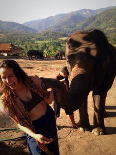 Getting elephant kisses at Woody Elephant Training in Chiang Mai, Thailand.