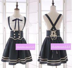 Japanese Sweet Lolita Preppy Style Suspender Skirt High Waist Bowknot Skirt 02 #new #women
