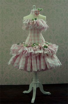 candy floss Summer dress created in pink and white gingham created with shabby chic ruffles.Adorned with either pink lilac or white rose buds