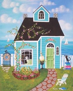 ~Seaside Cottage~ Kim's Cottage Art-Would be just a perfect little cottage by the water