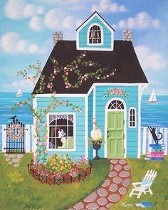 Coastal Cottage by KimsCottageArt on Etsy