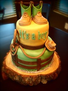 Country Baby Shower Cake by Olive Parties