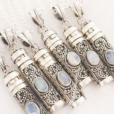 Elixir - Rainbow Moonstone & Sterling Silver Wish Bottle Necklace – Druzy Dreams