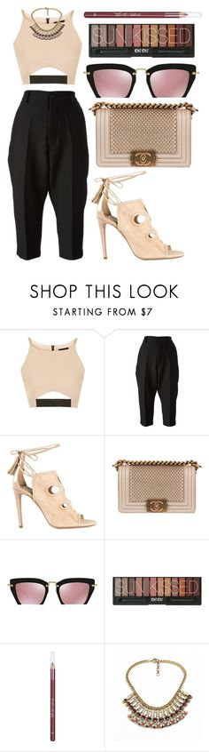 """Top it."" by shanelala ❤ liked on Polyvore featuring Topshop, Rick Owens, Aquazzura, Chanel, Miu Miu, Barry M and Loli Bijoux"