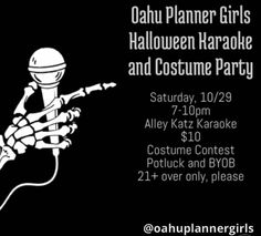 Oahu Planner Girls Halloween Karaoke and Costume Party - http://fullofevents.com/hawaii/event/oahu-planner-girls-halloween-karaoke-and-costume-party/