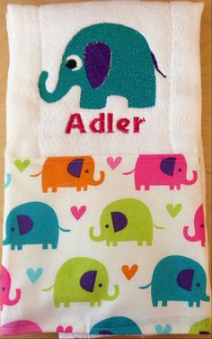 Elephant burp cloth Elephants Girl burp by BrinleysBowtique32