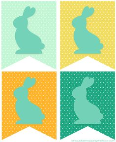 Free Printable Bunny Banner   Print as many pennants as you like for desired length   Instant Download