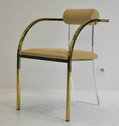 Set of Six Lucite and Gold Dining Chairs by Dewulf Selection and Belgo Chrom | From a unique collection of antique and modern dining room chairs at https://www.1stdibs.com/furniture/seating/dining-room-chairs/