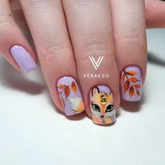 """If you're unfamiliar with nail trends and you hear the words """"coffin nails,"""" what comes to mind? It's not nails with coffins drawn on them. It's long nails with a square tip, and the look has. Animal Nail Designs, Animal Nail Art, Fall Nail Art Designs, Simple Nail Designs, Almond Acrylic Nails, Acrylic Nail Art, Pretty Nails, Cute Nails, Fox Nails"""