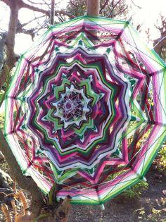 Mandala art, Ojo de Dios, Decorative Mandala Spring passion, yarn mandala wall hanging