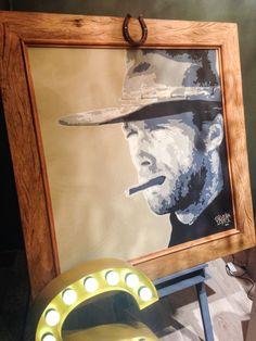 Quadro Cowboy Pintura acrílica sobre tela medindo 100x100cm Com moldura em madeira de peroba e com detalhe de uma ferradura de metal