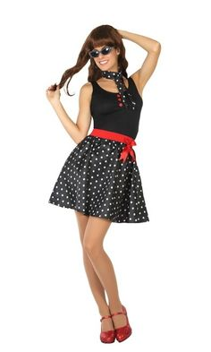 Vista principal del disfraz años 50 negro disponible en talla XS-S, M-L y XL Rockabilly Mode, Rockabilly Fashion, Costumes For Women, Rock And Roll Costume, Work Appropriate Halloween Costumes, Grease Party, 50s Outfits, Bridal Collection, 1950s