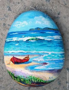 Hand painted rock stone beach surf row boat