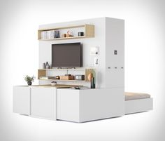 ORI Transformable Furniture Micro Apartment, Studio Apartment, Tiny House Community, Folding Furniture, Apt Ideas, House Ideas, Small Space Solutions, Complete Bathrooms, Prefab