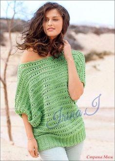 Зеленый вязаный пуловер спицами 44/48 размеров.
