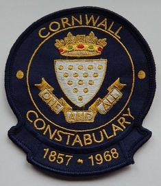 CORNWALL CONSTABULARY 1857-1968 CLOTH BADGE Thames Valley Police, 1940s Fashion, Card Wallet, Cornwall, Fancy Dress, Badge, Ebay, Clothes, Whimsical Dress