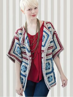 66 ideas for crochet granny square jacket solid colors Crochet Coat, Crochet Jacket, Crochet Cardigan, Crochet Shawl, Crochet Clothes, Crochet Sweaters, Grannies Crochet, Moda Crochet, Moda Emo